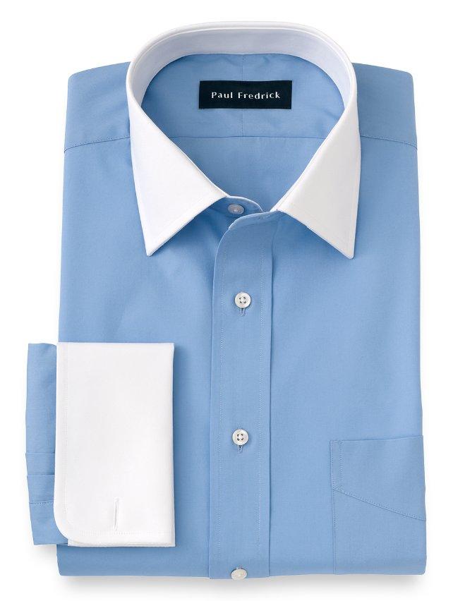 Slim Fit Cotton Broadcloth White Windsor Spread Collar Dress Shirt