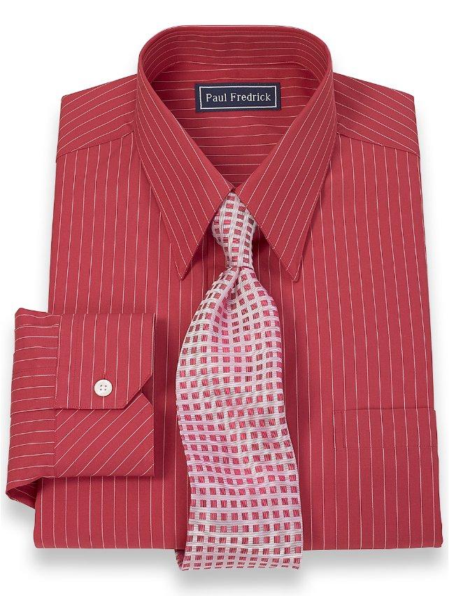 2-Ply Cotton Fine Line Stripe Straight Collar Dress Shirt