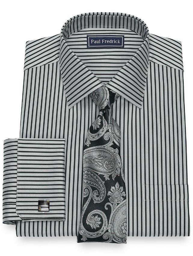 Slim Fit Cotton Herringbone Stripe Dress Shirt