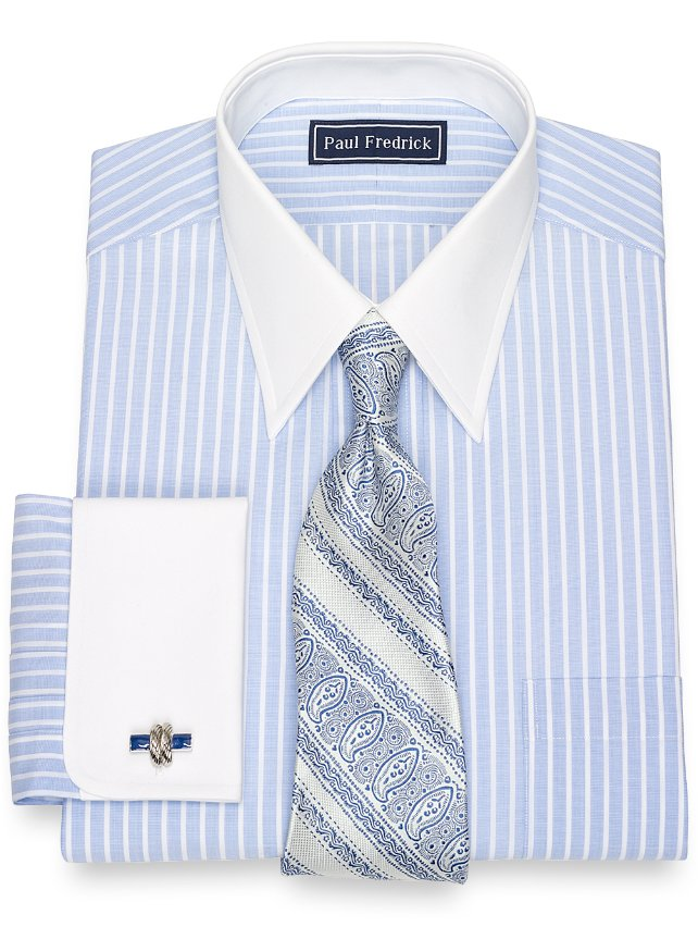 Cotton End-On-End Stripe Dress Shirt