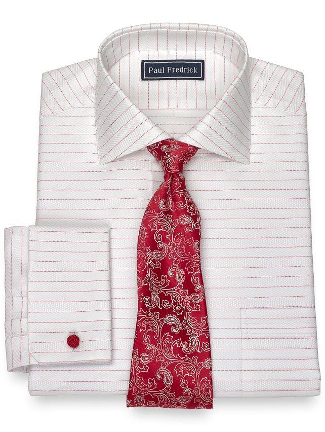 Cotton Horizontal Herringbone Dress Shirt