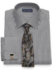 Cotton Herringbone Stripe Dress Shirt