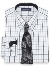 Slim Fit Cotton Satin Windowpane Dress Shirt