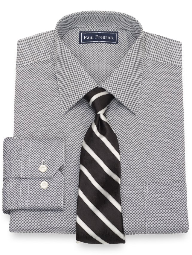 Cotton Mini Check Dress Shirt