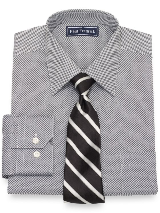 Cotton Mini Check Dress Shirt