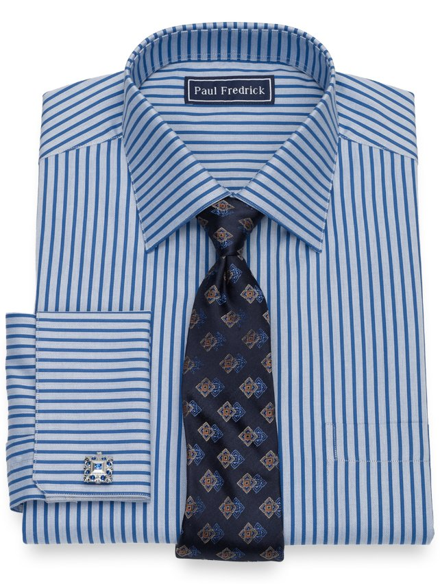 Slim Fit Cotton Herringbone Stripe Dress Shirt