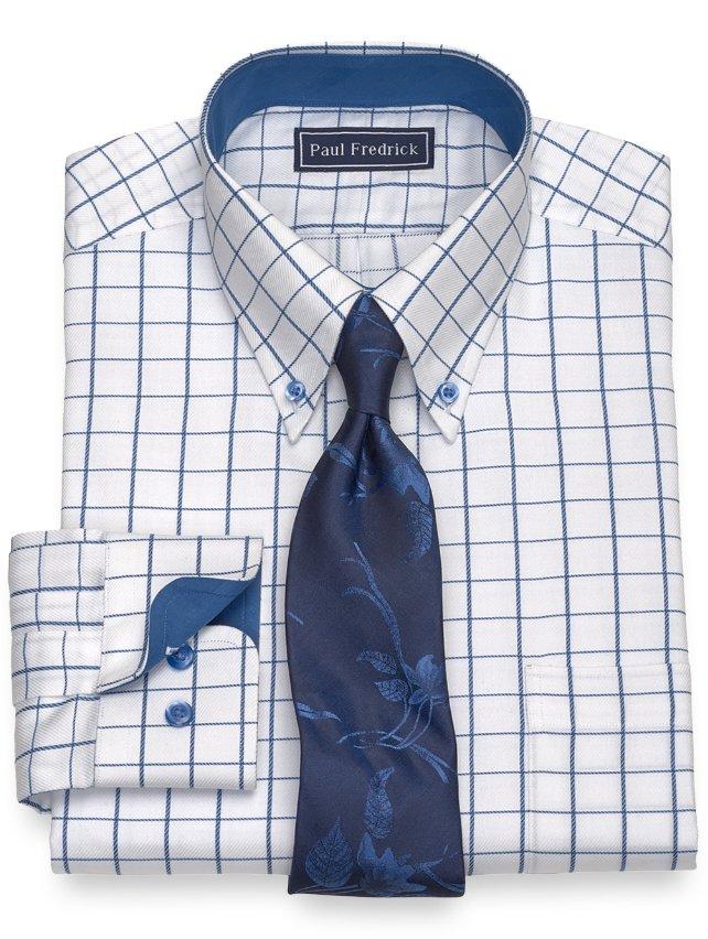 Slim Fit Cotton Satin Rope Grid Dress Shirt