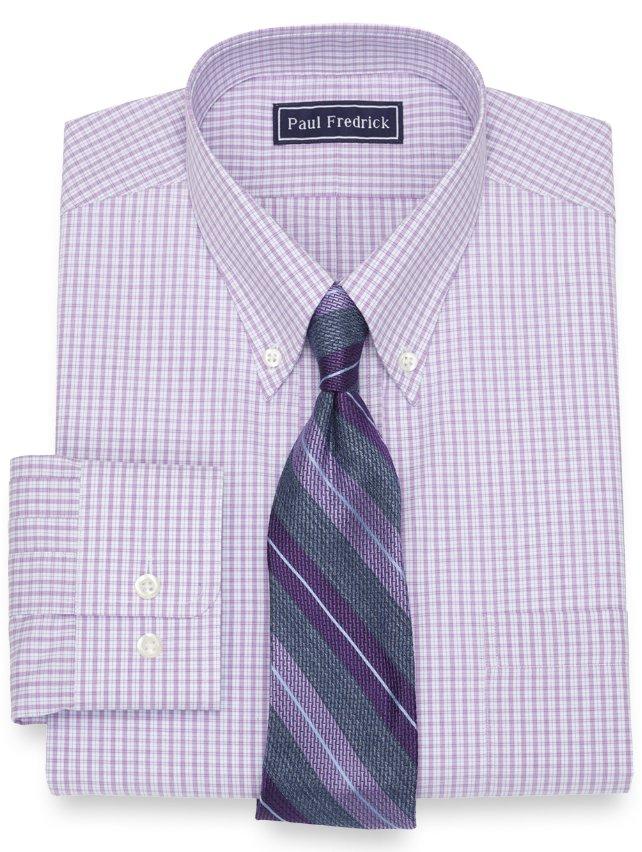 Slim Fit Cotton Mini Grid Dress Shirt