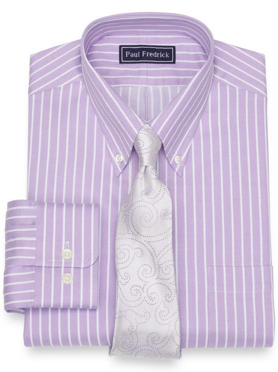 Slim Fit Cotton Twill Stripe Dress Shirt