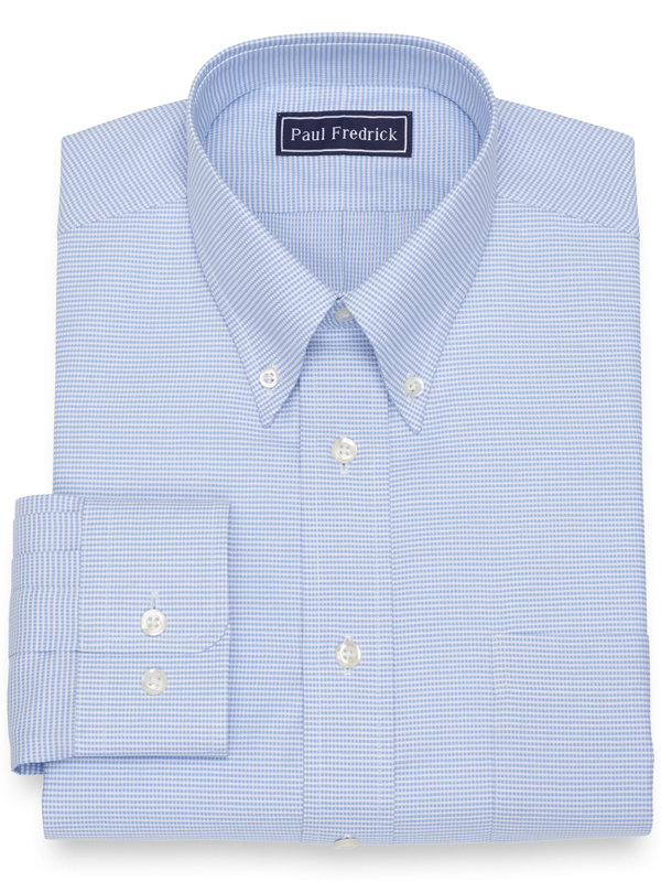 Slim Fit Cotton Mini Houndstooth Dress Shirt