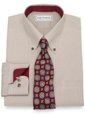 Slim Fit Non-Iron Cotton Mini Check Dress Shirt