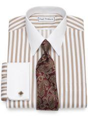 Slim Fit Non-Iron Cotton Satin Stripe Dress Shirt