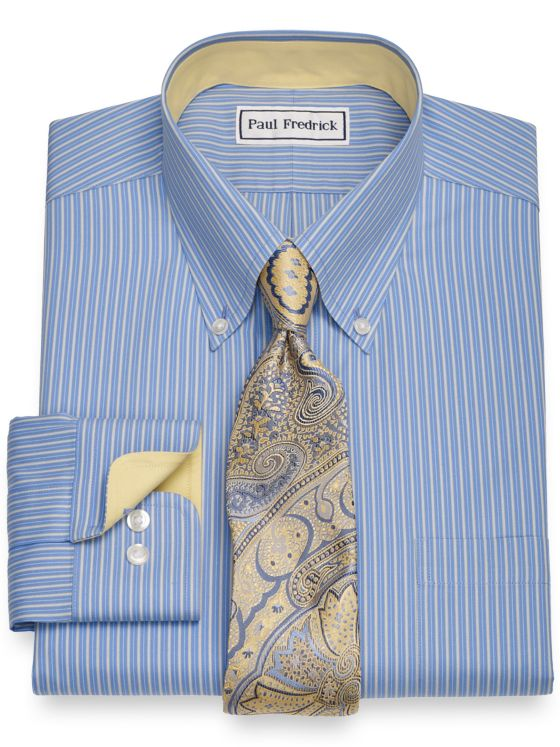 Slim Fit Non-Iron Cotton Shadow Stripe Dress Shirt