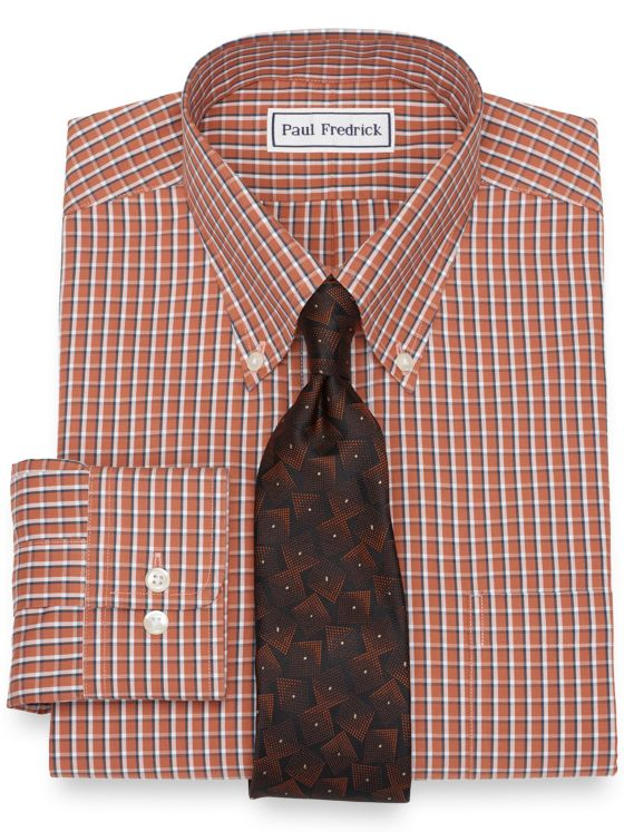 Slim Fit Non-Iron Cotton Windowpane Dress Shirt