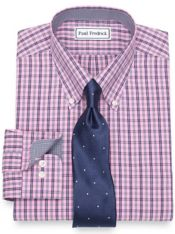 Non-Iron Cotton Plaid Dress Shirt