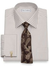 Slim Fit Non-Iron Cotton Wide Stripe Dress Shirt