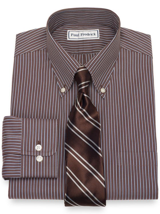 Slim Fit Non-Iron Cotton Shadow Stripe Dress Shirt