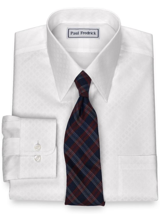 Slim Fit Non-Iron Cotton Diamond Dress Shirt