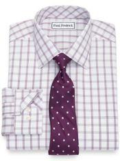 Slim Fit Non-Iron Cotton Windowpane Dress Shirt