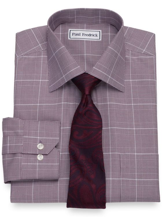 Non-Iron Cotton Glen Plaid Dress Shirt