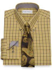 Slim Fit Non-Iron Cotton Plaid Dress Shirt