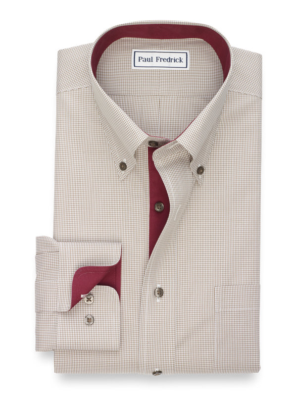 Slim Fit Non-Iron Cotton Broadcloth Mini Check Dress Shirt with Contrast Trim