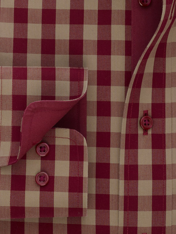 Non-Iron Cotton Broadcloth Gingham Dress Shirt with Contrast Trim
