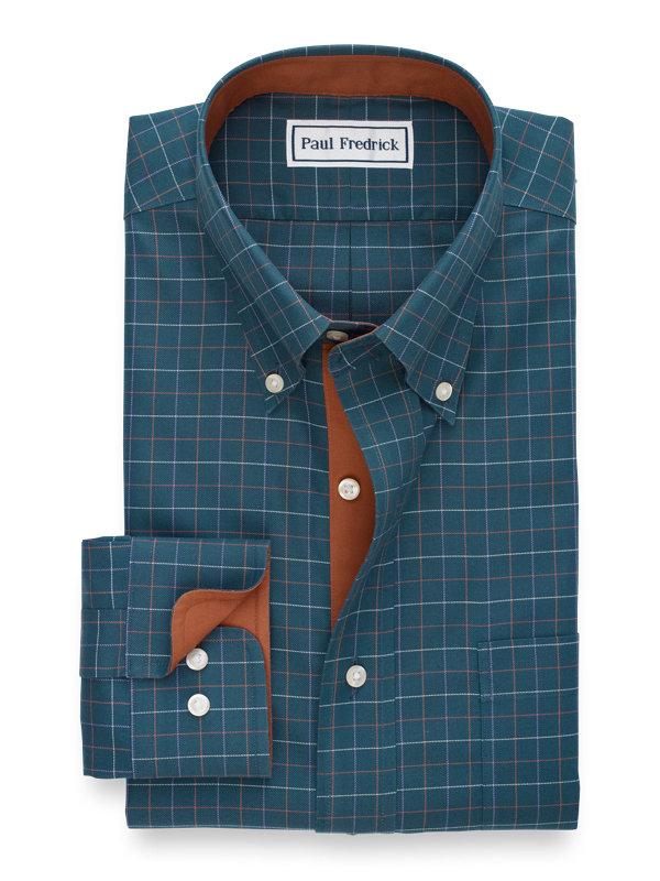 Non-Iron Cotton Check Dress Shirt with Contrast Trim