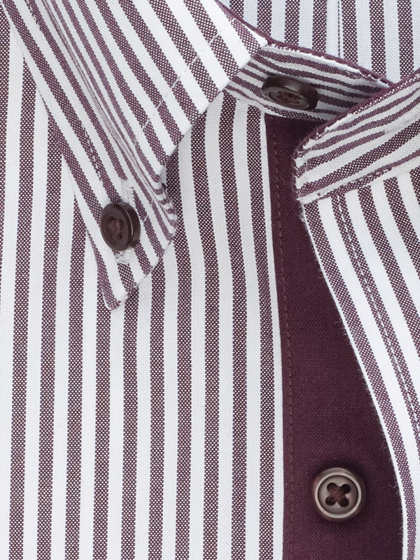 Tailored Fit Non-Iron Cotton Bengal Stripe Dress Shirt with Contrast Trim