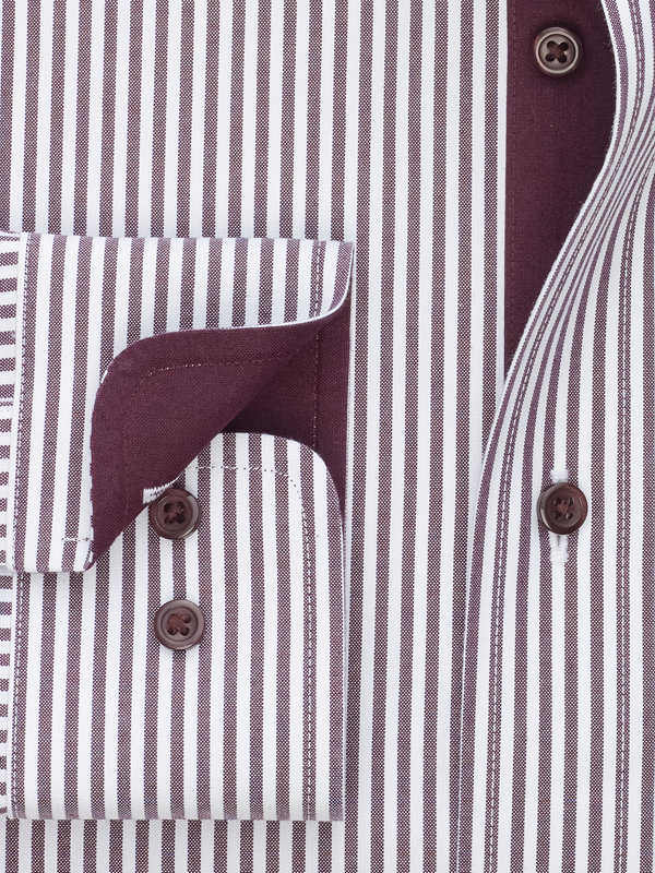 Slim Fit Non-Iron Cotton Pinpoint Bengal Stripe Dress Shirt with Contrast Trim