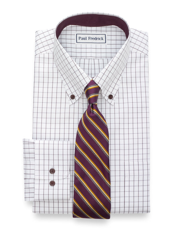 Tailored Fit Non-Iron Cotton Pinpoint Check Dress Shirt with Contrast Trim