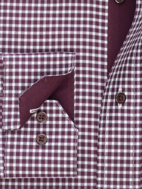 Tailored Fit Non-Iron Cotton Gingham Dress Shirt with Contrast Trim