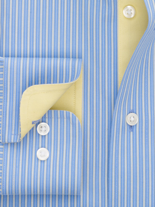 Non-Iron Cotton Pinpoint Shadow Stripe Dress Shirt with Contrast Trim