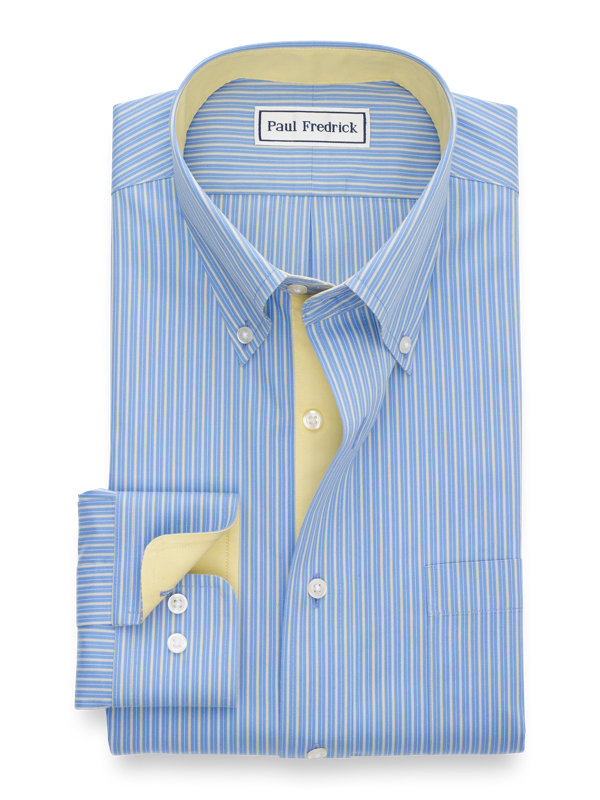 Tailored Fit Non-Iron Cotton Shadow Stripe Dress Shirt with Contrast Trim
