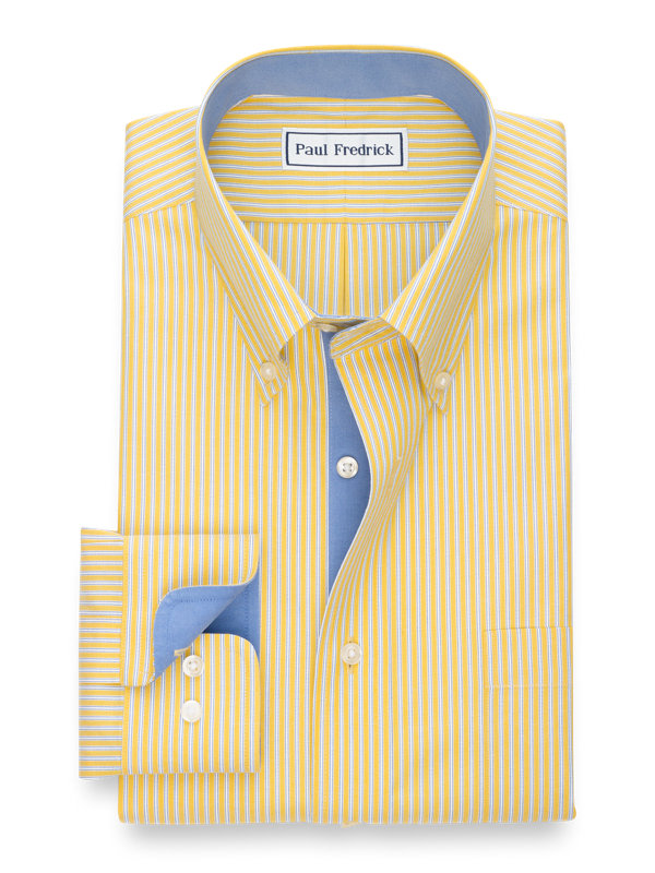 Non-Iron Cotton Pinpoint Twin Stripe Dress Shirt with Contrast Trim
