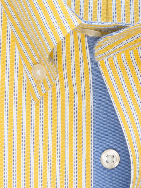 Slim Fit Non-Iron Cotton Pinpoint Twin Stripe Dress Shirt with Contrast Trim