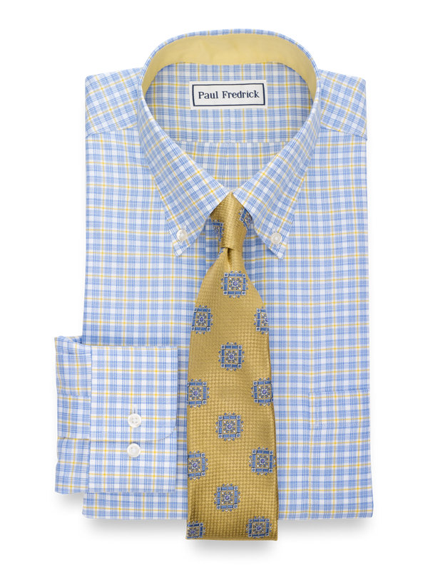Tailored Fit Non-Iron Cotton Check Dress Shirt with Contrast Trim