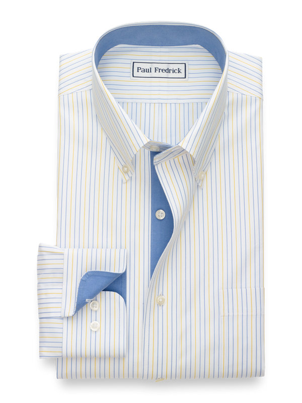 Tailored Fit Non-Iron Cotton Alternating Stripe Dress Shirt with Contrast Trim