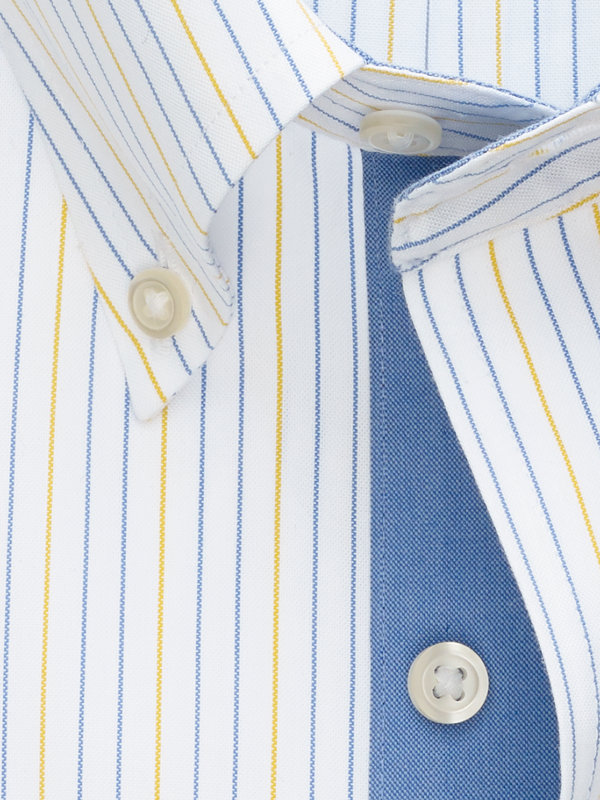 Slim Fit Non-Iron Cotton Alternating Stripe Dress Shirt with Contrast Trim