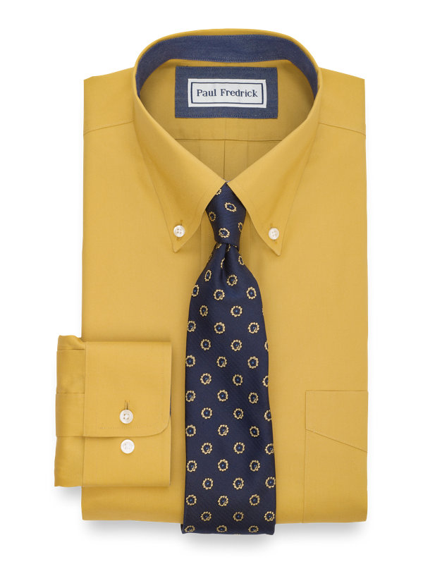 Tailored Fit Non-Iron Cotton Pinpoint Solid Dress Shirt with Contrast Trim