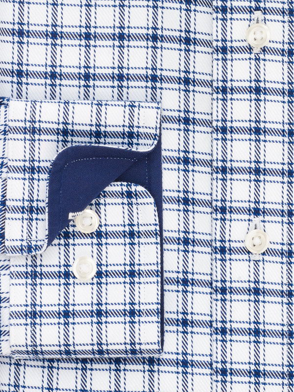Impeccable Non-Iron Cotton Windowpane Dress Shirt with Contrast Trim