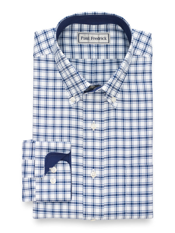 Tailored Fit Impeccable Non-Iron Cotton Dress Shirt with Contrast Trim