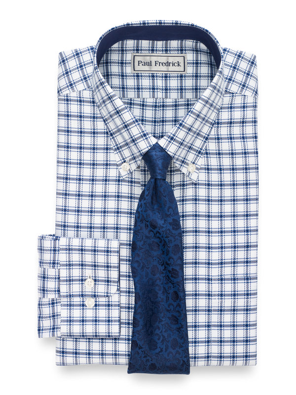 Slim Fit Impeccable Non-Iron Cotton Windowpane Dress Shirt with Contrast Trim