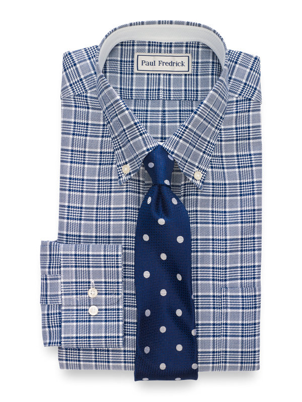 Impeccable Non-Iron Cotton Plaid Dress Shirt with Contrast Trim