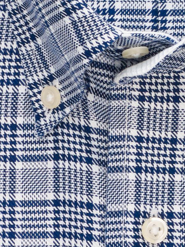 Impeccable Non-Iron Cotton Plaid Dress Shirt with Contrast Trim