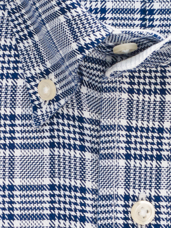 Tailored Fit Impeccable Non-Iron Cotton Plaid Dress Shirt with Contrast Trim