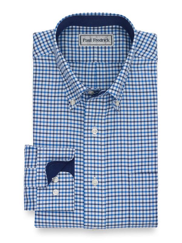 Impeccable Non-Iron Cotton Check Dress Shirt with Contrast Trim