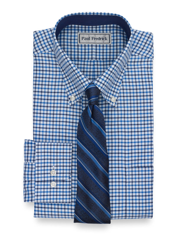 Tailored Fit Impeccable Non-Iron Cotton Check Dress Shirt with Contrast Trim