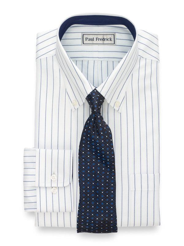 Impeccable Non-Iron Cotton Stripe Dress Shirt with Contrast Trim