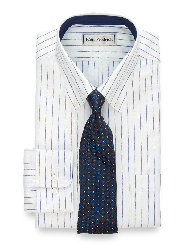 Tailored Fit Impeccable Non-Iron Cotton Stripe Dress Shirt with Contrast Trim